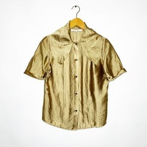 3.1 Phillip Lim Gold Wide Collar Button Down Top